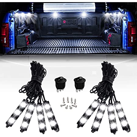 Nilight - TR-08 8PCS 24LED Rock Light for Cargo Truck Pickup Bed Off Road Under Car Side Marker LED Rock Lighting Kit w/Switch White, 2 Years Warranty
