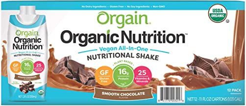 Orgain Organic Vegan Plant Based Nutritional Shake, Smooth Chocolate - Meal Replacement, 16g Protein, 21 Vitamins & Minera...