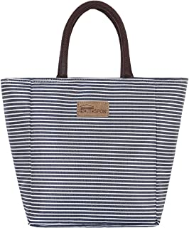 HOMESPON Resuable Lunch Bag Tote Bag Lunch Box Grocery Bag Insulated Cooler Bag Lunch container Lunch Organizer for Women/Men(Navy & White Strip, Upgrade)