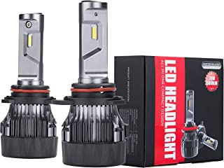 Alla Lighting S-HCR 2018 Newest Version 10000 Lumens Extremely Super Bright Cool White High Power SUPER Mini 9012 HIR2LL LED Headlight Bulb All-in-One Conversion Kits Headlamps Bulbs Lamps