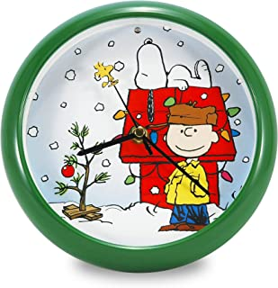Mark Feldstein PNXD8 Peanuts Holiday Dog House Clock, 8-Inch