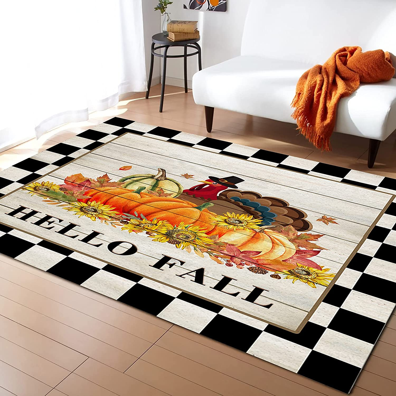 Indoor Area Rug 5' x 7' Pumpkin Philadelphia Mall on Turkey Non-Sl Sunflower Limited price sale Wood
