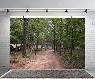 Leyiyi 8x6ft Photography Background Summer Camp Backdrop Troop Tents Military Camp Boy Scout Overnight Stay Wild Living Survive Tropical Forest Western Cowboy Photo Portrait Vinyl Studio Video Prop