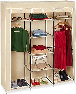 Relaxdays Grande armoire pliante VALENTIN 9 compartiments Penderie Tringles étagères (H x l x P 173 x 148 x 42,5 cm), beige