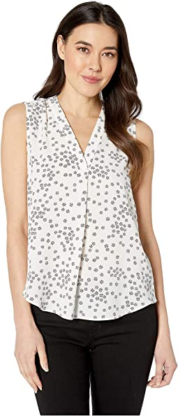 Petite Sleeveless V-Neck Ditsy Showers Blouse