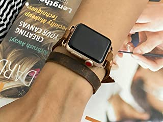 Rose Gold & Rustic Brown Leather Bracelet for Apple Watch Band 38mm 40mm 42mm 44mm Women Style Double Tour Genuine Leather Apple Watch Strap Bracelet Series 1 2 3 4