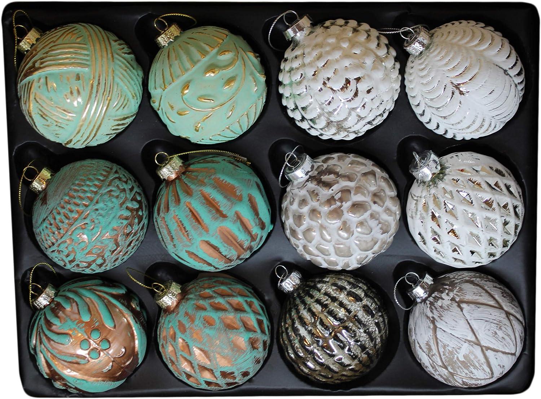 G/&M 12er Set edle Christbaum-//Weihnachtskugeln aus Glas /Ø 8 cm Wei/ß, Silber, Kupfer, Gr/ün, antik