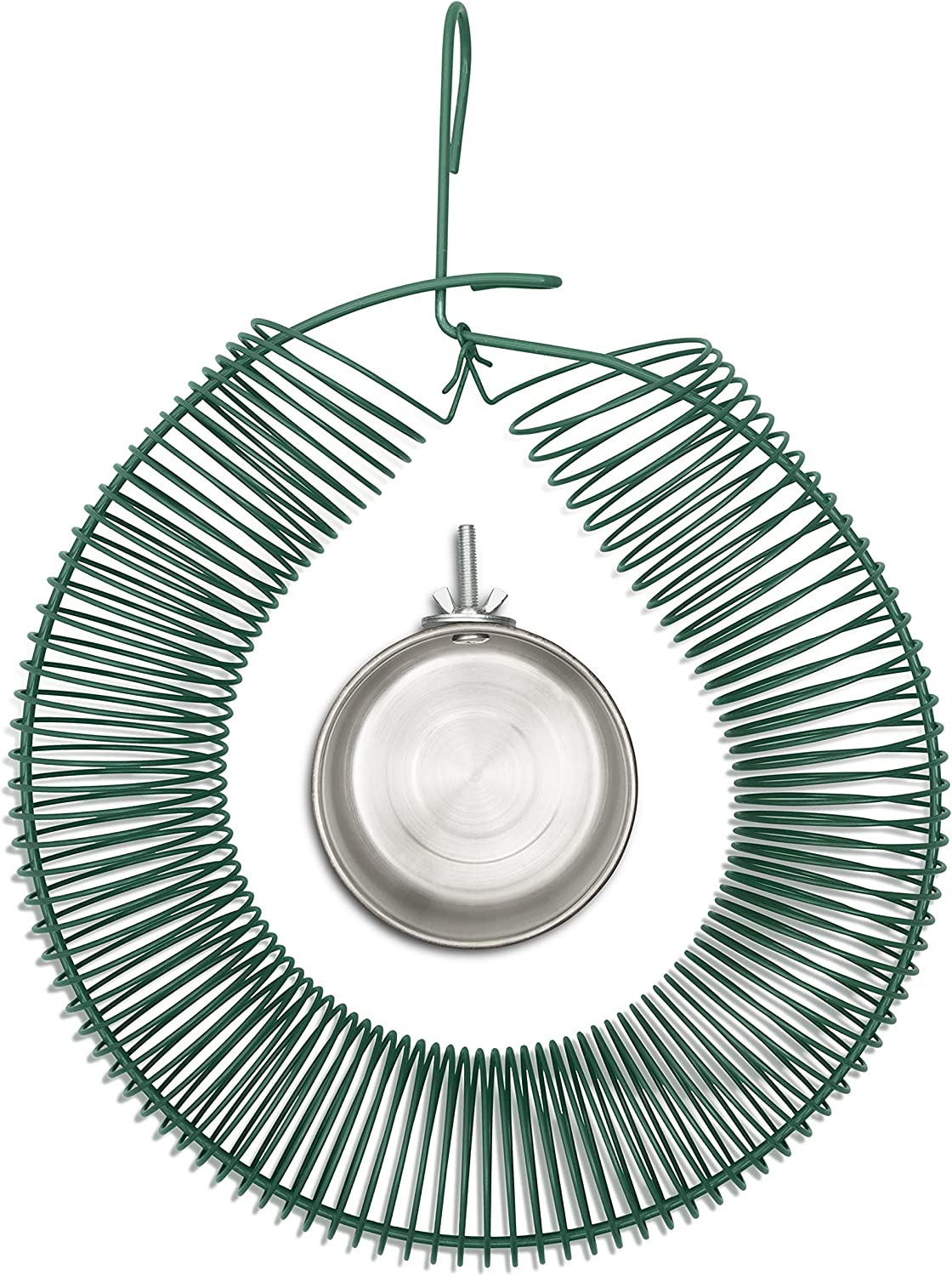 SPLENDIDMODE Hanging Wreath Bird, Squirrel or Chipmunk Feeder - for Whole Peanut and Suet Wreath Style Feeder - Complete with Stainless Steel Water Cup