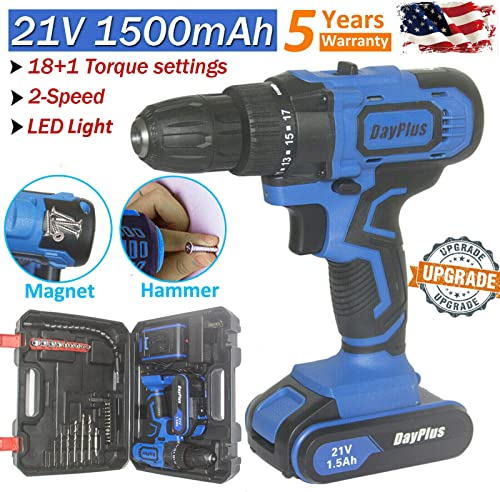 high quality Cordless Impact Drill Driver Combo Tool Kit with 1500mAH Li-Ion online Battery and Charger, LED Work Light, 18+1 Torque Setting, 45Nm, 2 Variable Speed, Upgraded with outlet online sale Magnet and Tail Hammer Functions sale