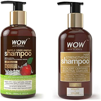 WOW Apple Cider Vinegar No Parabens & Sulphate Shampoo, 300mL And WOW Skin Science Hair Strengthening Shampoo - No Parabens, Sulphate & Silicones - 300ml