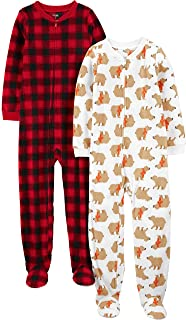 Simple Joys by Carter's Boys' Little Kid 2-Pack Loose-fit Fleece Footed Pajamas