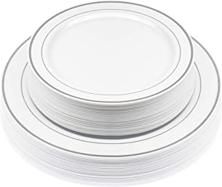 white dishes with silver trim