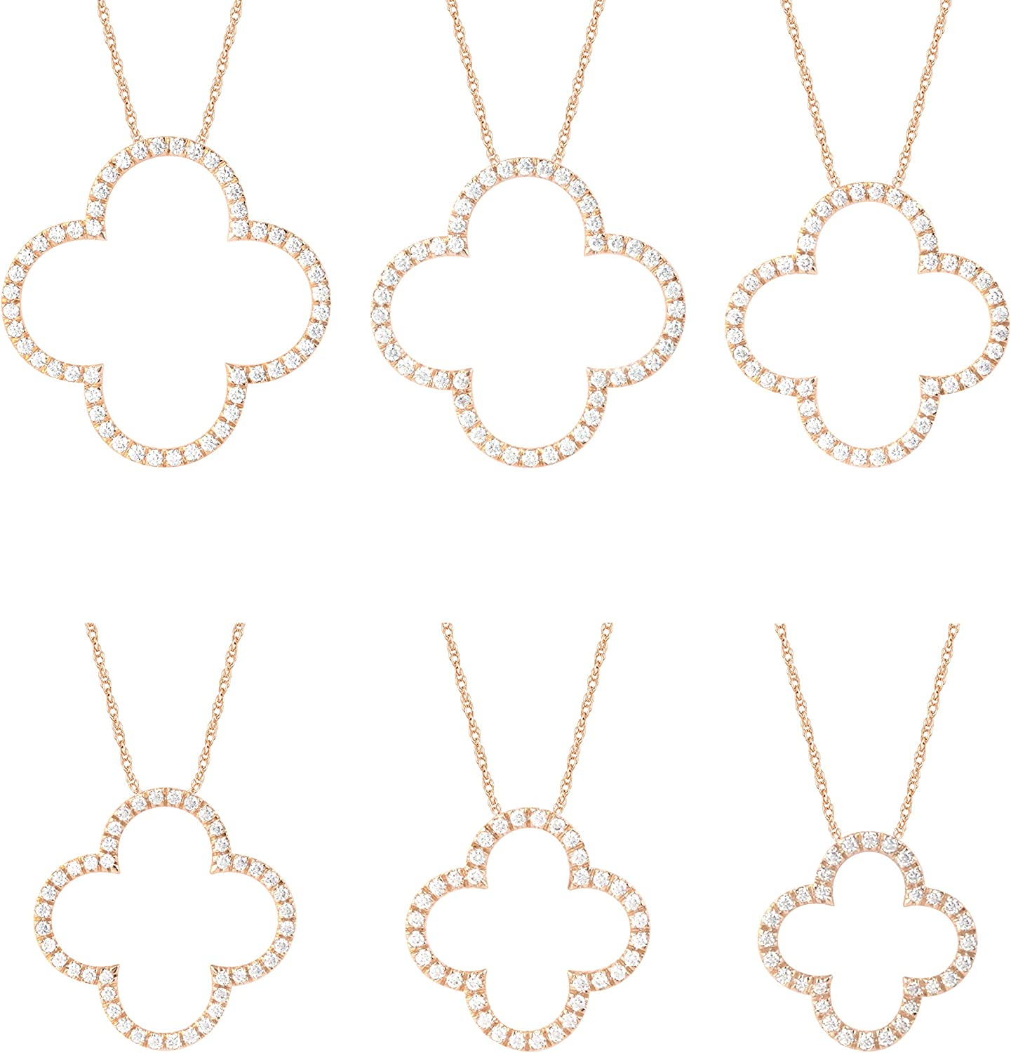 New popularity 14K Gold Clover Shaped Diamond Gift Under blast sales Necklace for Women Pendant