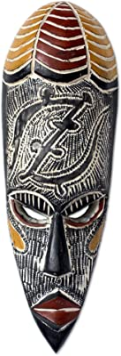 NOVICA 172539 God is My Guide Ghanaian Wood Mask