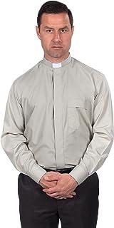 Reliant Camisa Clergy para hombre, manga larga con cuello de pestaña.