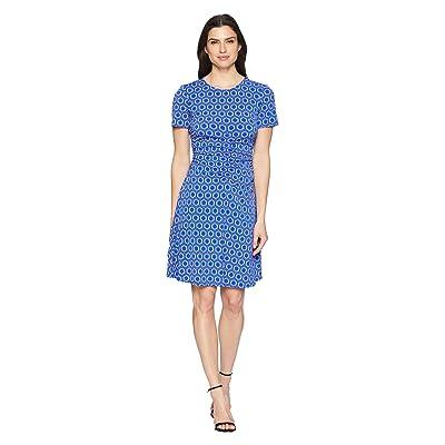 Donna Morgan Short Sleeve Jersey Dress with Ruching and Asymmetrical Hem (Cobalt/Dusty Purple Multi) Women