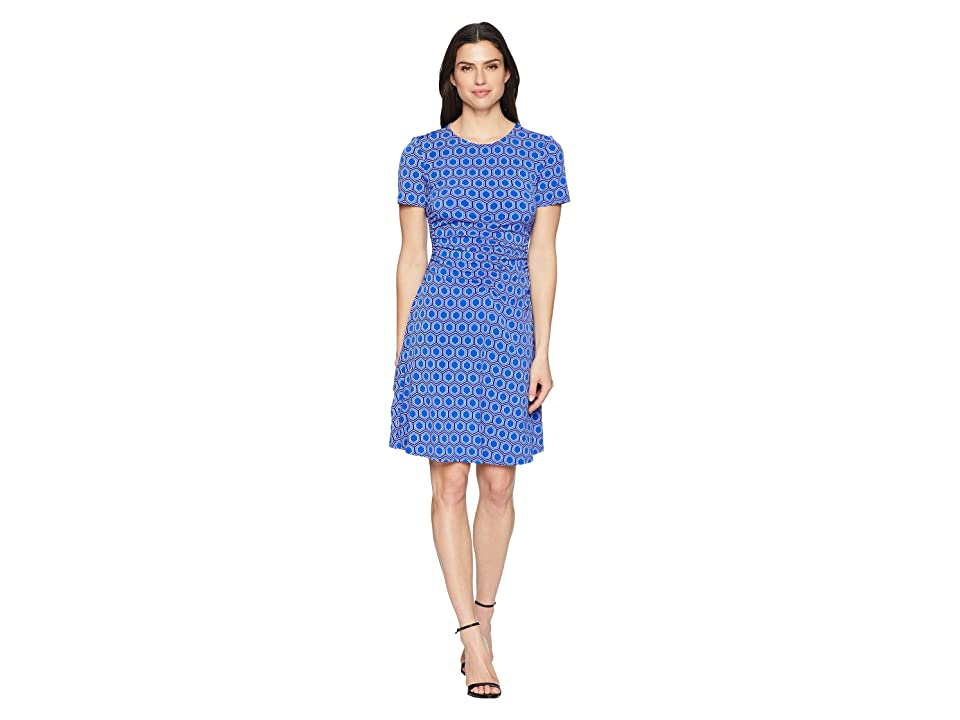 Donna Morgan Short Sleeve Jersey Dress with Ruching and Asymmetrical Hem (Cobalt/Dusty Purple Multi) Women