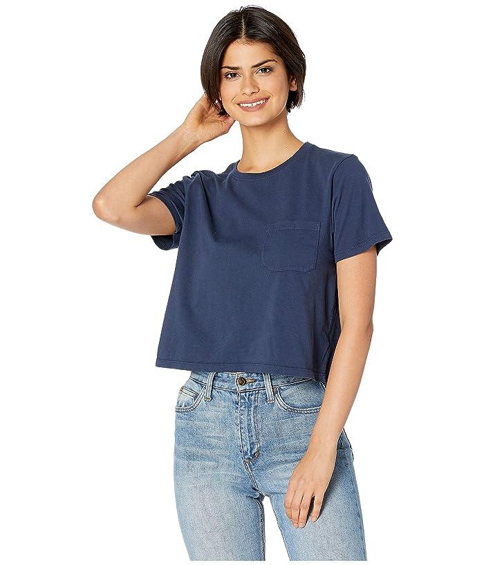 Richer Poorer Boxy Crop Tee (Navy) Women's T Shirt