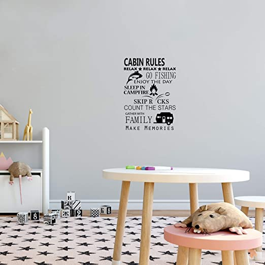 Amazon Com Design With Vinyl Top Decals Camping Rules Sit Around The Campfire Eat S More Unwind Explore Enjoy Friends Go Fishing Make Memories Wall Art 12 X 18 Black Home Kitchen