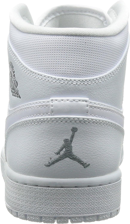 Nike Air Jordan 1 Mid, Chaussures de Basketball Homme White Cool Grey White