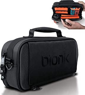 Bionik Commuter - Switch Bag - Compatible with Nintendo Switch - 18 Game Slots - Extra Joy Con Pocket - Canvas Exterior - Plush Interior - Removable Shoulder Strap - Backpack Attachable - YKK Zippers