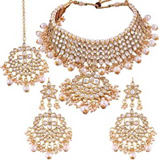 Aheli Indian Traditional Maang Tikka with Kundan Necklace Earrings Set Ethnic Wedding Party Designer Jewelry for Women