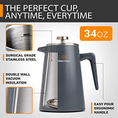 Stainless Steel French Press, Grey, Double Wall Insulated Coffee Maker, Dual-Filter Screen, 34oz, Ergonomic Handle, French Pr