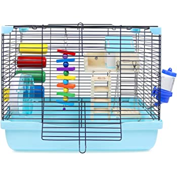 GalaPet Hamster and Guinea Pig Cage Habitat for Small Animal with Accessories (Blue)
