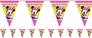 Girls Disney Pink Minnie Mouse Birthday Party Flag Bunting Garland Banner Celebration Tableware Decorations Accessories (Bunting)