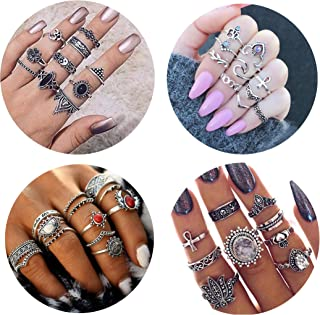 FIBO STEEL 42-63 Pcs Vintage Knuckle Rings for Women Girls Stackable Midi Finger Ring Set