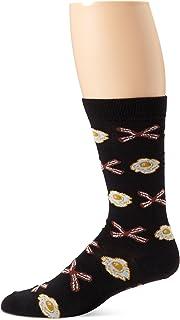 K. Bell Socks Men's Wakey Egg and Bacy Crew Sock, Black, 10-13