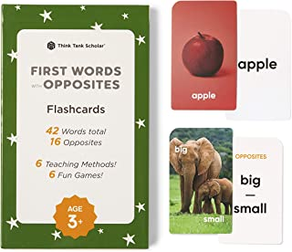 Think Tank Scholar First Words Flash Cards with Opposites for Toddlers, Ages 1-4, Preschool