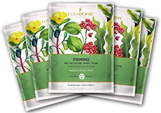 LuxaDerme Firming Bio Cellulose Face Sheet Mask with Red Ginseng, Purslane, and Sea Kelp, 25 ml - Pack of 5
