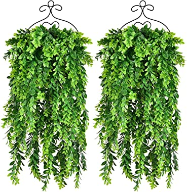 2 Pack Artificial Hanging Boxwood Greenery Garland,Fake Ivy Greenery Garland Vine Garland, 30Inch/Pc Faux Hanging Plant for W