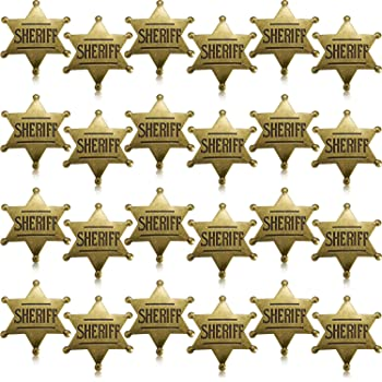 5 Pieces Metal Sheriff Badge Old West Costume Badge Bronze Toy Badge Party Favors