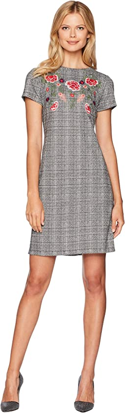 Houndstooth Knit Embroidered T-Shirt Dress