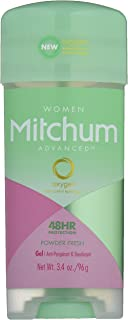 Mitchum Anti-Perspirant & Deodorant for Women, Power Gel, Powder Fresh, 3.4 oz (96 g) (Pack of 4)