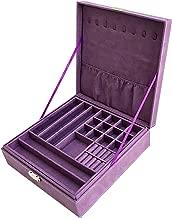 Sodynee JB2-25 Purple Two-Layer Lint Jewelry Box Organizer Display Storage Case with Lock