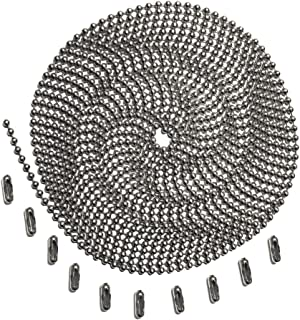 10 Foot Length Ball Chain, Number 3 Size, Stainless Steel, 10 Matching Connectors