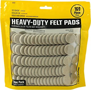 Smart Surface 8727 Heavy Duty Self Adhesive Furniture Felt Pads 1-Inch Round Oatmeal 160-Piece Value Pack in Resealable Bag
