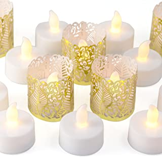 Frux Home and Yard 24 Flameless Flickering LED Tea Light Battery Operated Candles, Holders and Gold Decorative Votive Wraps Included