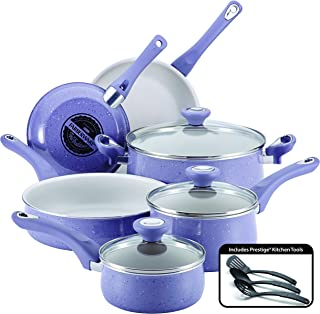 Farberware 16260 New Traditions Nonstick Cookware Pots and Pans Set, 12-Piece, Lavender Speckle