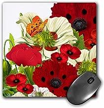 3dRose LLC 8x 8x 0. 25بوصة ، وسادة ماوس ، لون أحمر/أخضر خشخاش بلون و الفراشات (MP _ _ _ _ _ _ _ 79438_ _ _ _ _ _ _ 1)