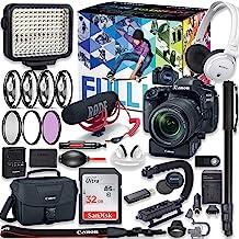 Canon EOS 80D DSLR Camera Premium Video Creator Kit w/ 18-135mm Lens + PZ-E1 Power Zoom Adapter + Sony Monitor Series Head...