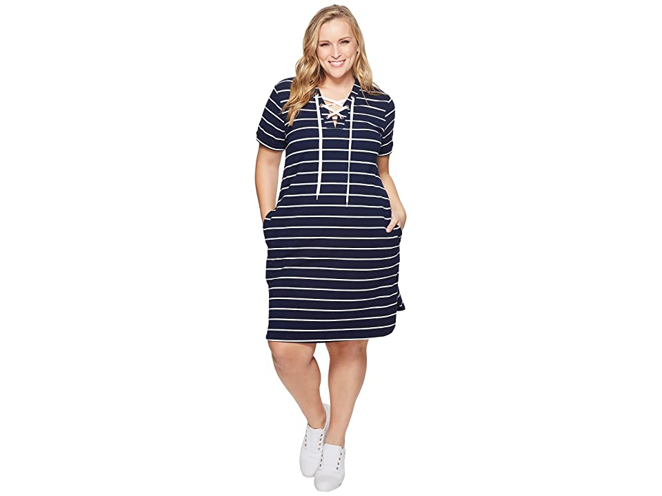 KARI LYN Plus Size Cassidy Lace-Up Dress (Navy/White) Women