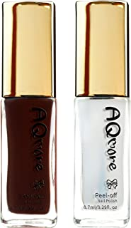 AQMORE Premium Water Based Nail Polish - Pure Minerals, Ultra Long Lasting, Easy Peel Off, Gel Manicures Like, Quick Drying, Non Toxic, Lab Tested, (Cacao & Top Coat Set) 0.20 fl oz/Bottle