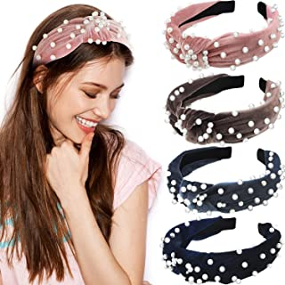 4 Pieces Velvet Knot Faux Pearl Headband Cross Knot Beading Hair Bands Twisted Artificial Pearl Velvet Headbands for Women Girls Accessories