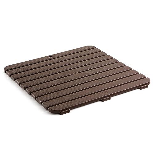 TATAY 5530000, Tarima de baño cuadrada en plástico con efecto madera, Marrón, 55