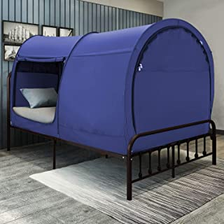 Bed Tent Dream Tents Bed Canopy Shelter Cabin Indoor Privacy Pop Up Warm Breathable Full Size for Kids and Adult Patent Pending Blue(Mattress Not Included)