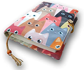 Fabric Novel Book Sleeve for Adult, Books Cover for Paperback, Cute Cats Pattern, Washable Book Protector- Padded Case for...